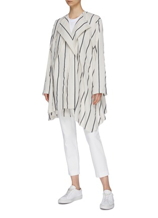 Figure View - Click To Enlarge - THE KEIJI - Belted pleated drape stripe wrap coat