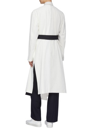 Back View - Click To Enlarge - THE KEIJI - Detachable panel belted colourblock coat