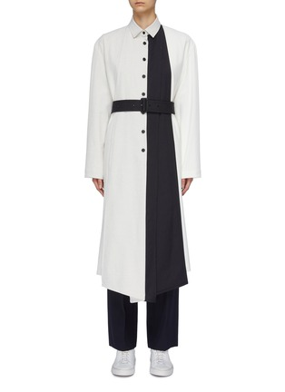 Main View - Click To Enlarge - THE KEIJI - Detachable panel belted colourblock coat