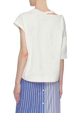 Back View - Click To Enlarge - THE KEIJI - Cutout collar asymmetric T-shirt
