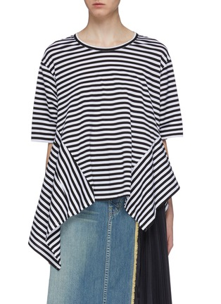 Main View - Click To Enlarge - THE KEIJI - Convertible button yoke stripe T-shirt