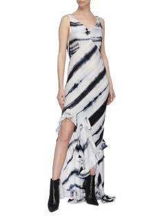 TRE by Natalie Ratabesi 'Crystal' ruffle drape tie-dye twill maxi dress