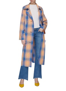 SIMON MILLER 'Paz' belted check plaid trench coat