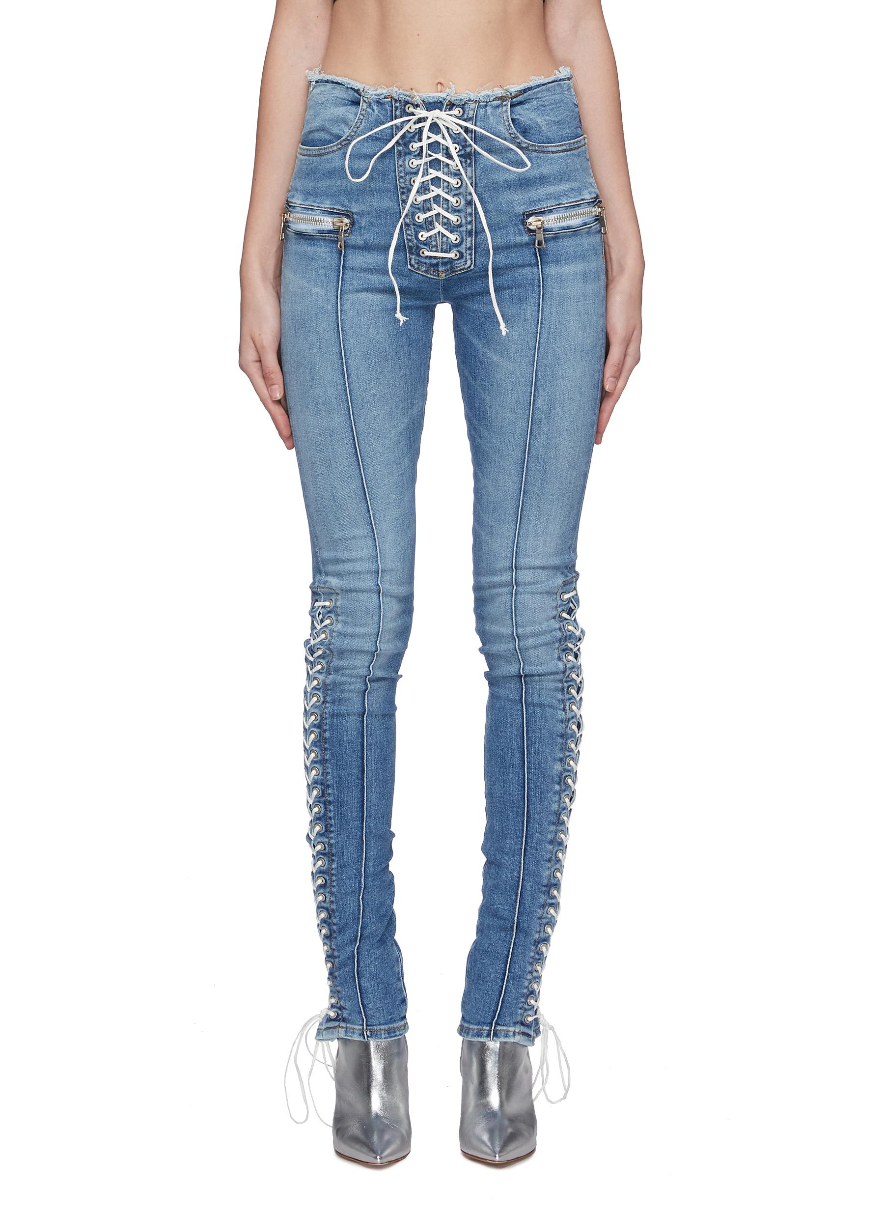 Lace-up skinny jeans by Ben Taverniti Unravel Project