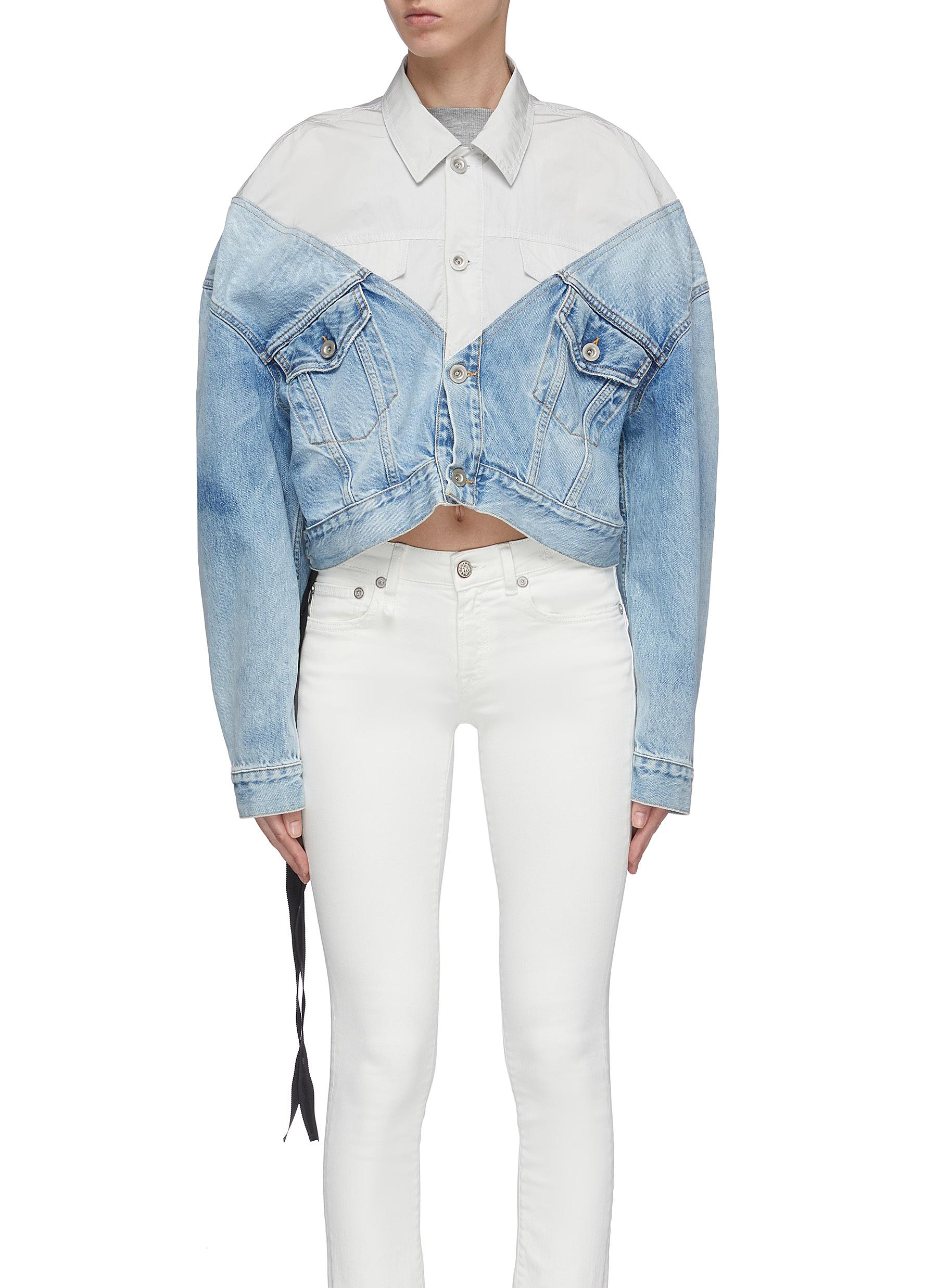Colourblock patchwork oversized cropped denim jacket by Ben Taverniti Unravel Project