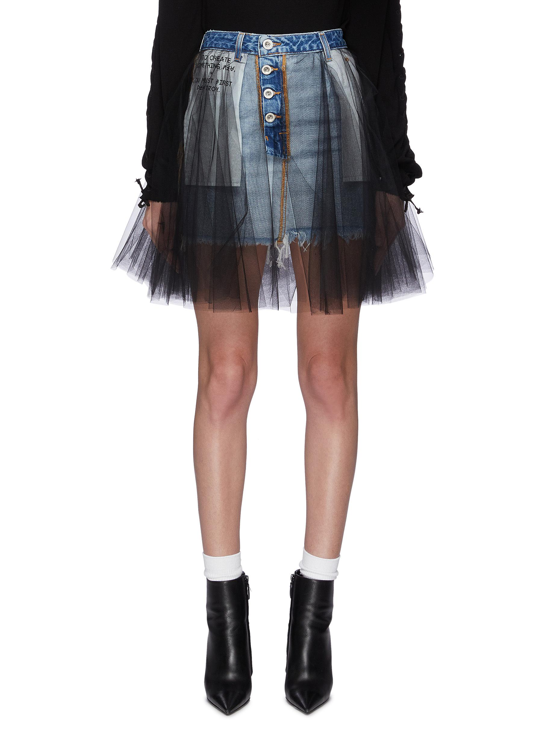 Tulle overlay denim mini skirt by Ben Taverniti Unravel Project