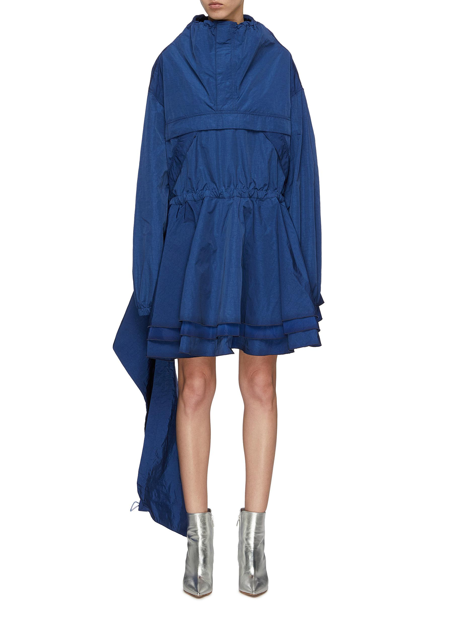 Asymmetric drape tiered gathered half-zip dress by Ben Taverniti Unravel Project