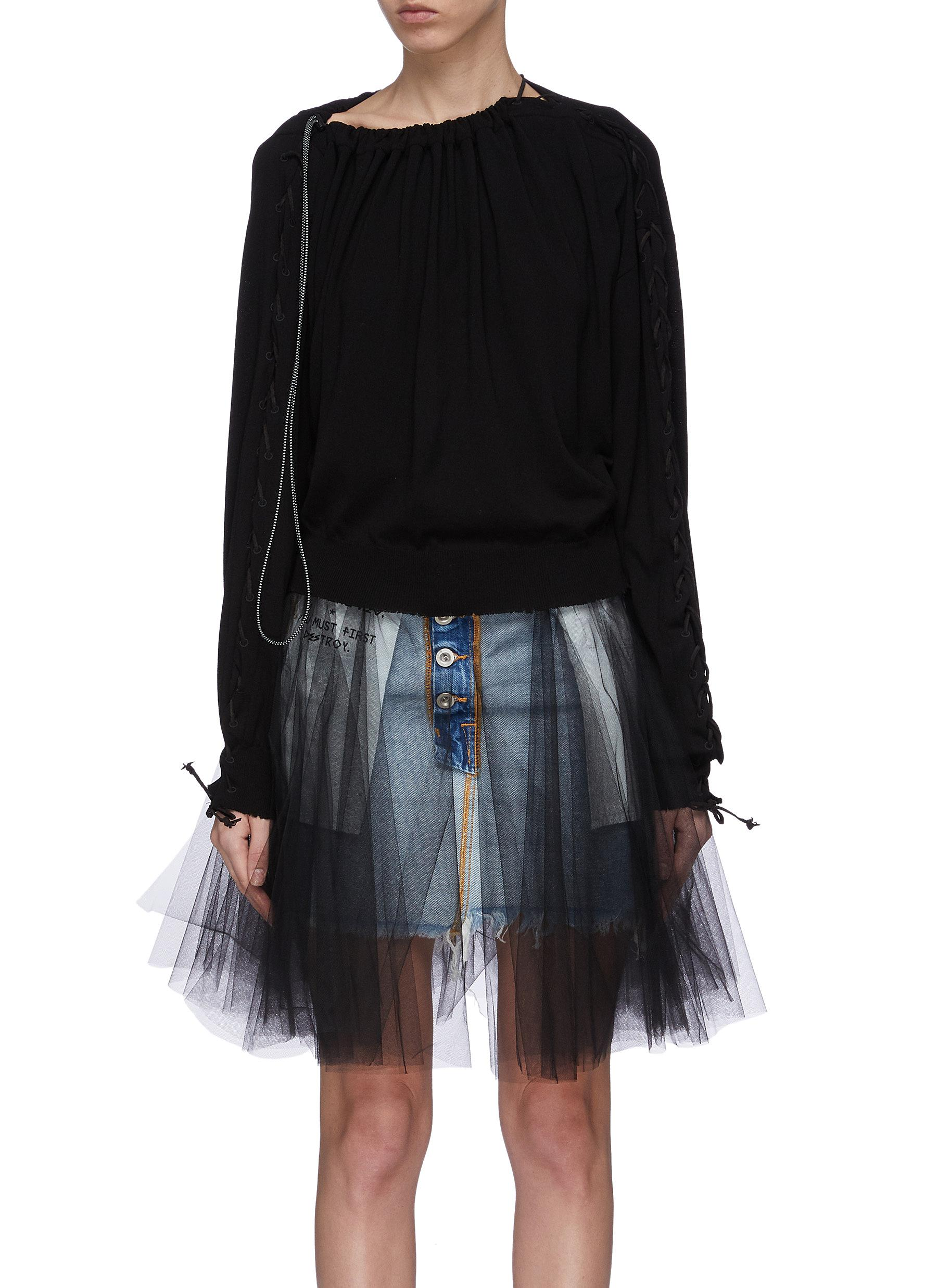 Lace-up sleeve drawcord collar top by Ben Taverniti Unravel Project