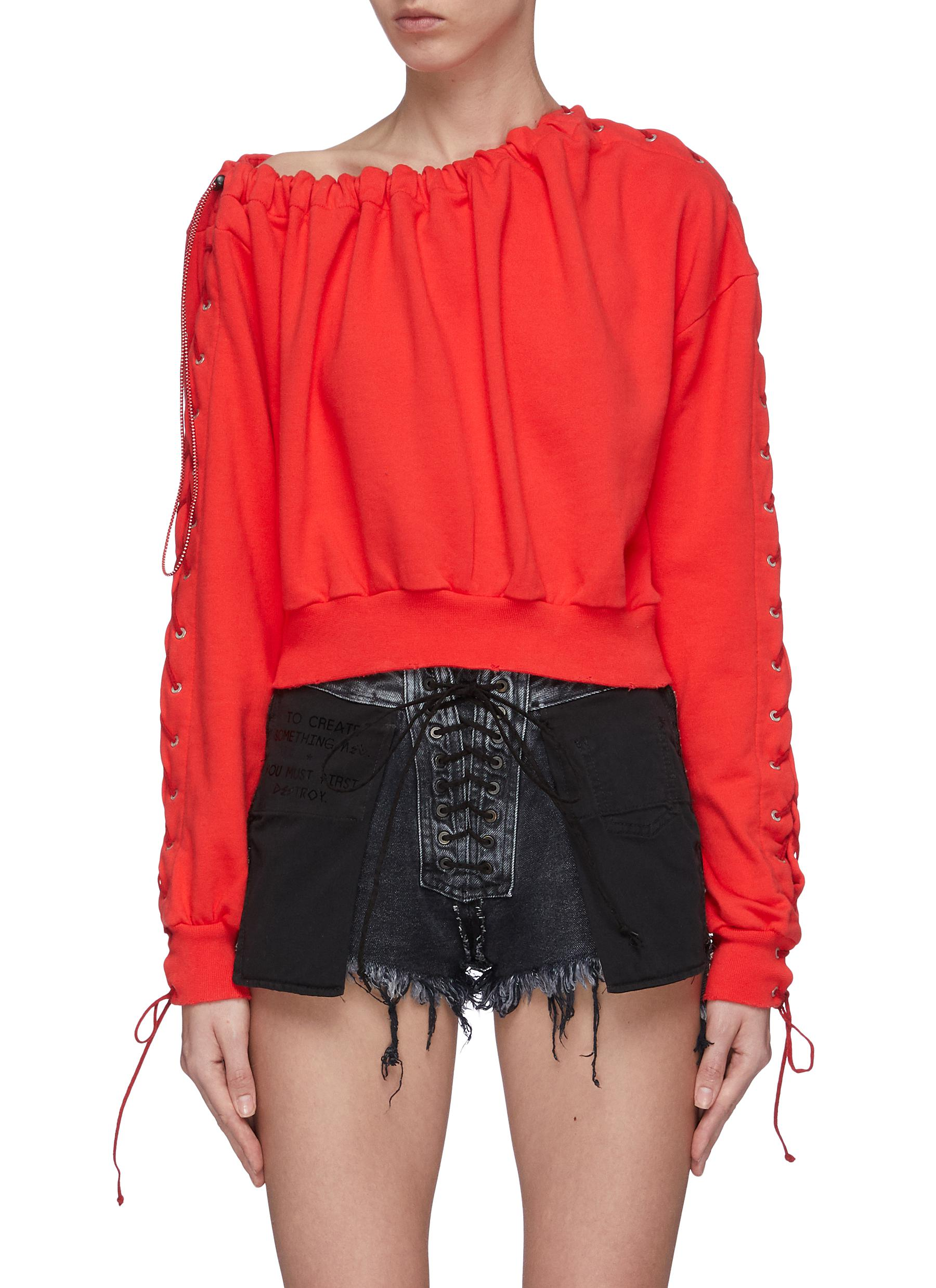 Lace-up sleeve drawcord collar sweatshirt by Ben Taverniti Unravel Project