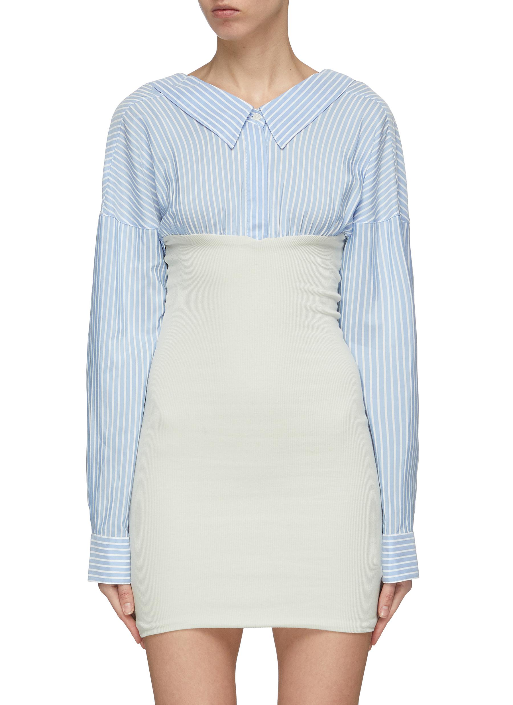 Convertible rib knit panel stripe shirt dress by Ben Taverniti Unravel Project