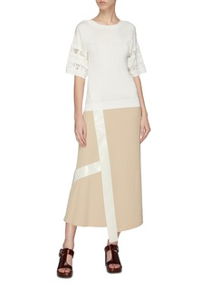 Chloé Lace logo sleeve silk-cotton T-shirt