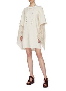 Chloé Layered crochet knit kimono sleeve string tie tunic dress