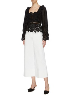 self-portrait Blouson sleeve guipure lace insert peplum top