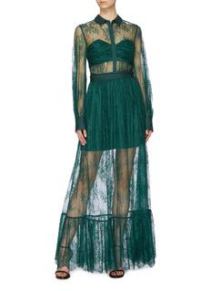 self-portrait Floral lace overlay maxi dress