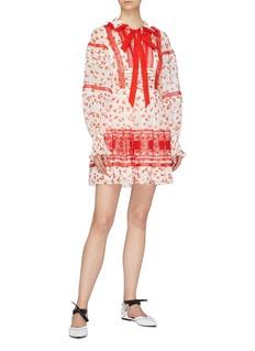 self-portrait Ditsy floral print lace trim pussybow mini dress