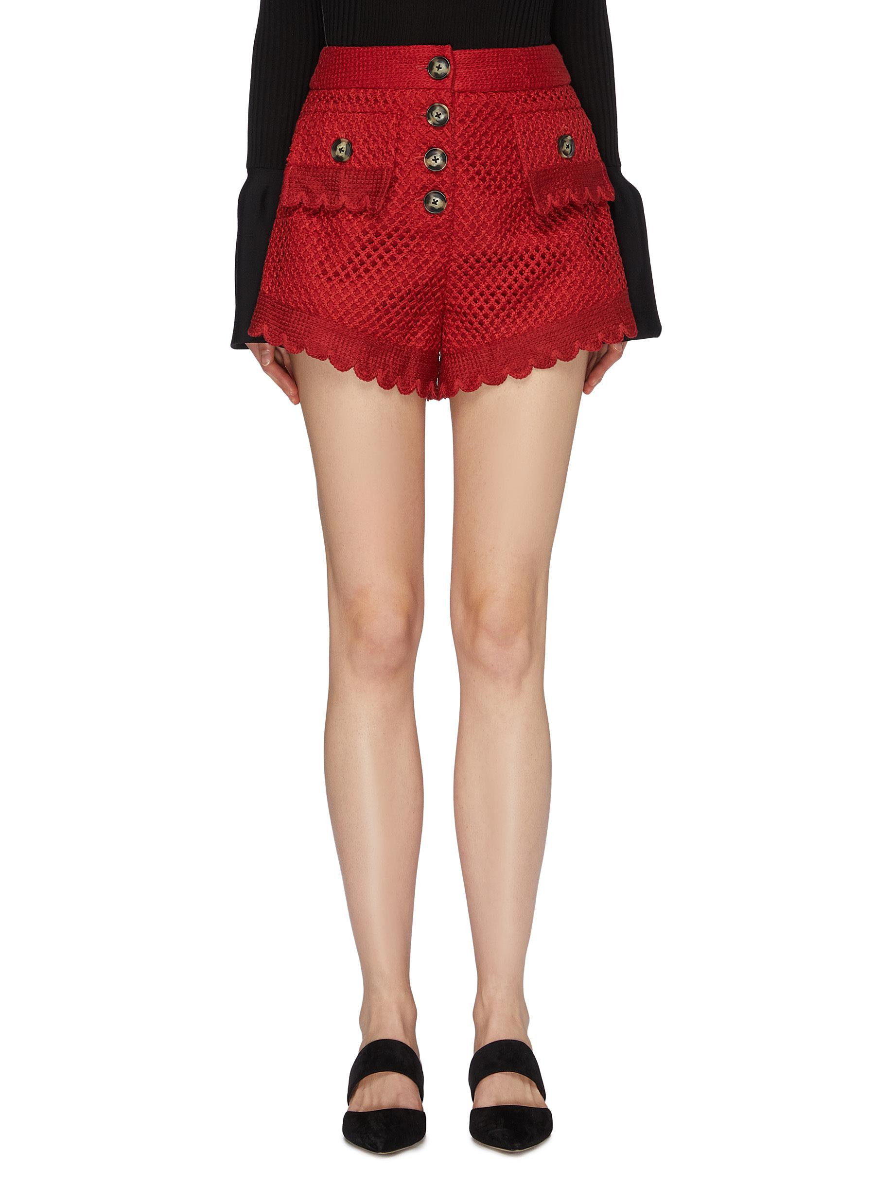 Self Portrait Scalloped Crochet Lace Shorts Women Lane Crawford