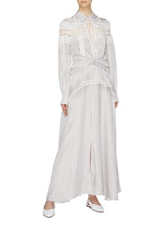 self-portrait Twist peplum stripe lace trim shirt dress