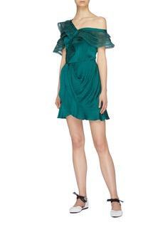 self-portrait Ruffle lace trim one shoulder mock wrap dress