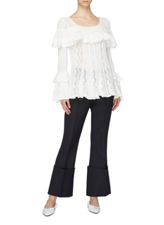 self-portrait Ruffle trim pointelle knit tunic top