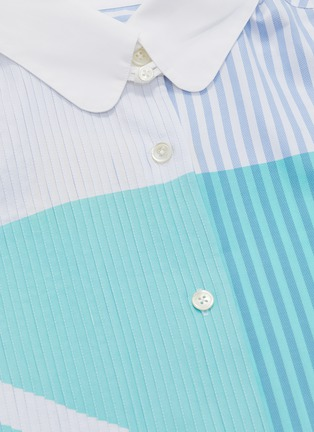 - SIRLOIN - 'Wrap' asymmetric sleeve geometric colourblock mix stripe shirt
