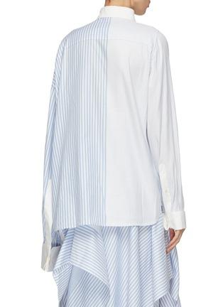 Back View - Click To Enlarge - SIRLOIN - 'Wrap' asymmetric sleeve geometric colourblock mix stripe shirt