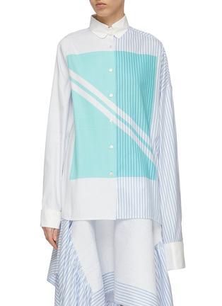 Main View - Click To Enlarge - SIRLOIN - 'Wrap' asymmetric sleeve geometric colourblock mix stripe shirt