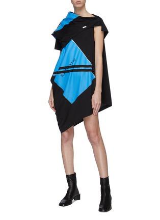 Figure View - Click To Enlarge - SIRLOIN - 'Bukko-D' gathered panel logo print colourblock T-shirt dress
