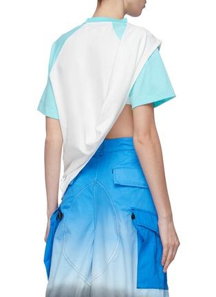 Back View - Click To Enlarge - SIRLOIN - 'Bukko-T' asymmetric drape panel colourblock raglan T-shirt