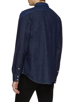 Back View - Click To Enlarge - Alexander McQueen - Logo embroidered contrast topstitching denim shirt jacket