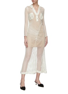 self-portrait Fishnet crochet lace panelled maxi shirt dress