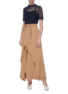 self-portrait Flap pocket tiered drape crepe midi wrap skirt