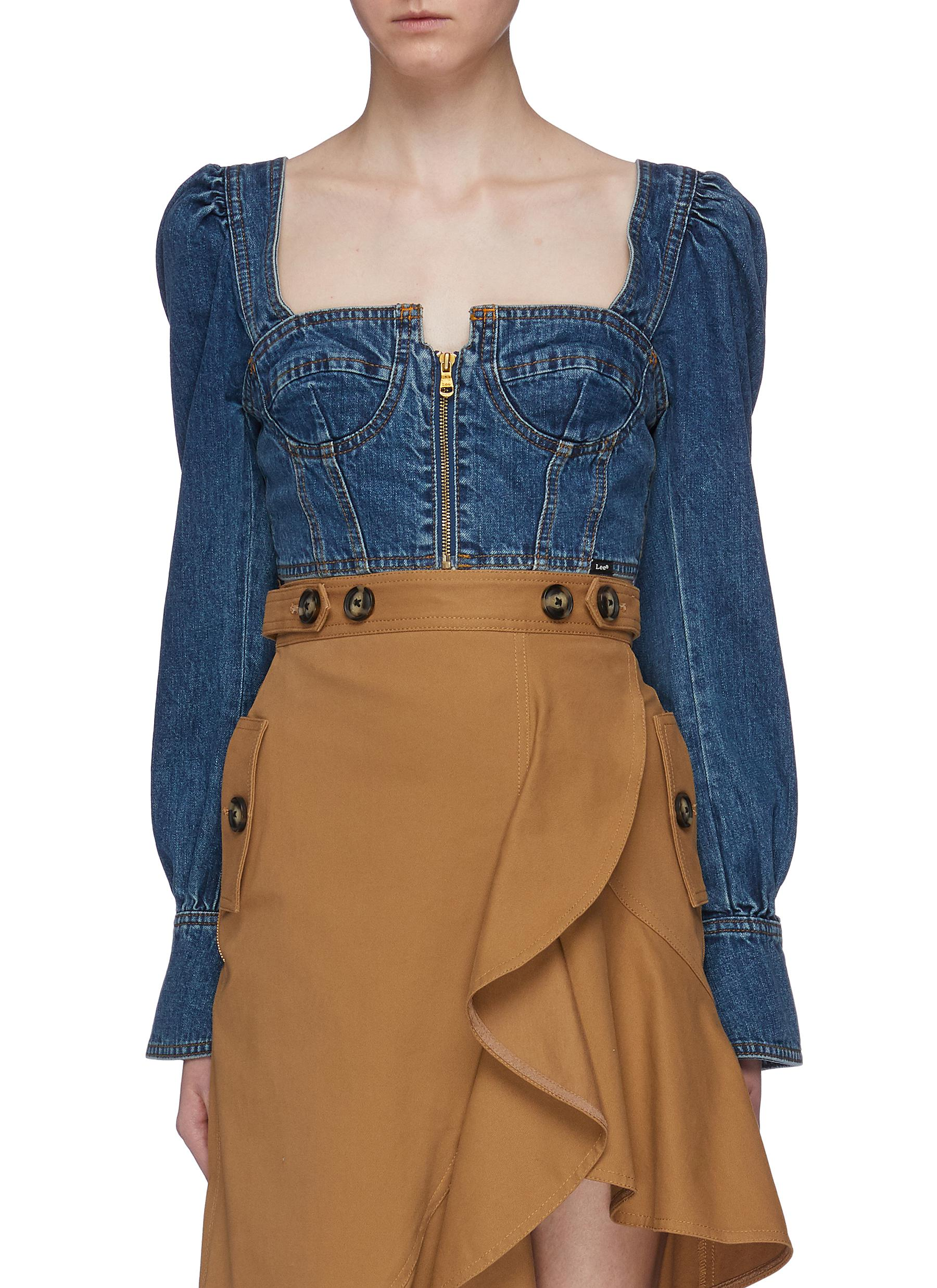 c553aa7e393 ... front cropped denim bustier top. Main View - Click To Enlarge -  SELF-PORTRAIT - x Lee blouson sleeve zip