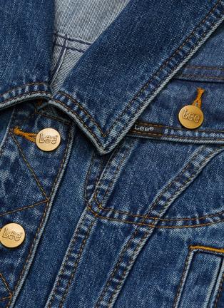 - self-portrait - x Lee drape back V-neck denim jacket