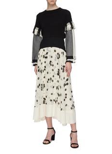 3.1 Phillip Lim Contrast waist panel cherry print pleated chiffon skirt