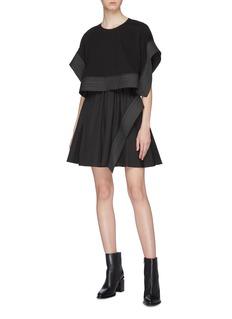 3.1 Phillip Lim Detachable contrast topstitching panel poplin dress