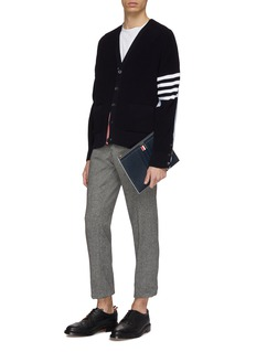Thom Browne Oxford shirt back stripe sleeve cardigan