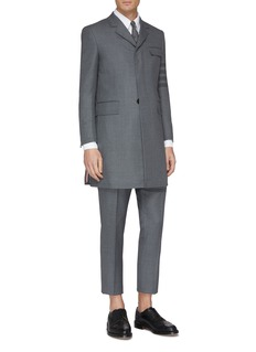 Thom Browne Stripe sleeve chesterfield coat