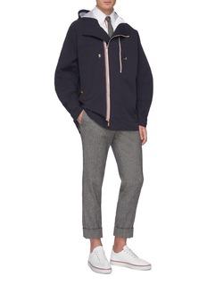 Thom Browne Stripe double zip placket hooded jacket