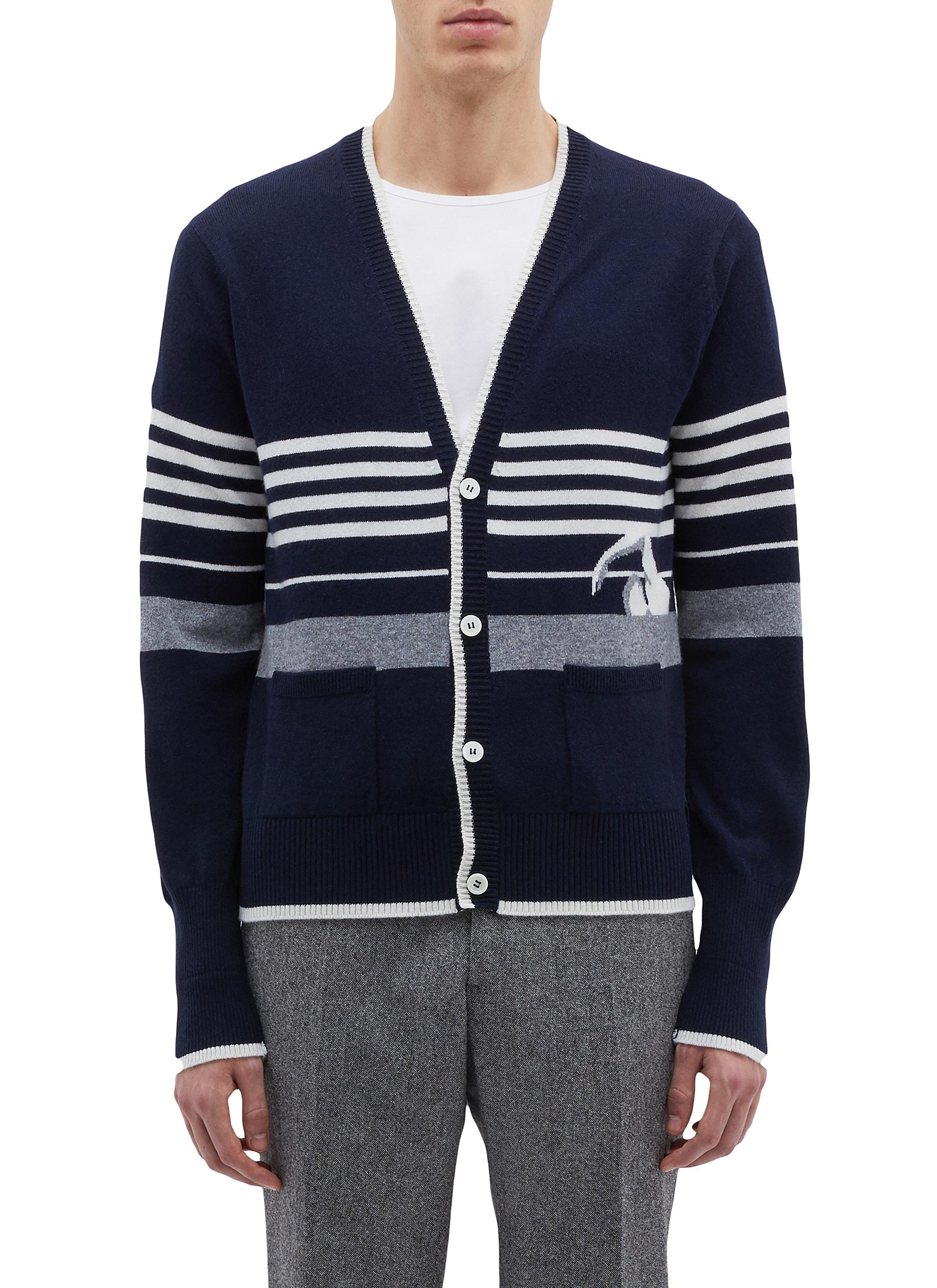 b1bc4dc89c95 Main View - Click To Enlarge - Thom Browne - Swimmer stripe intarsia  cashmere cardigan