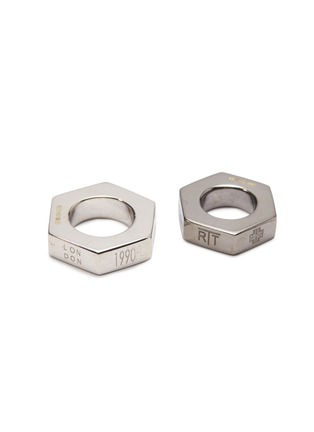Detail View - Click To Enlarge - TATEOSSIAN - Gunmetal rhodium silver nut charm sets