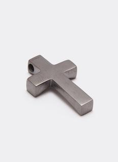 Tateossian Gunmetal silver cross charm