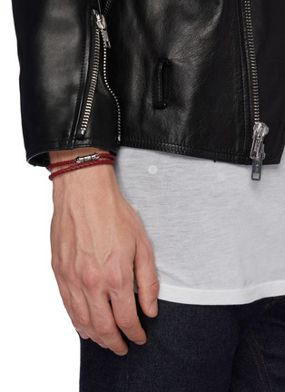Figure View - Click To Enlarge - TATEOSSIAN - 'Montecarlo' double wrap braided leather bracelet