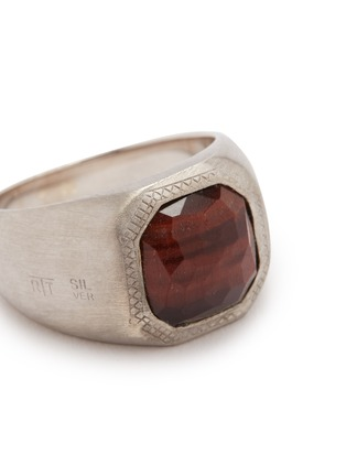 Detail View - Click To Enlarge - TATEOSSIAN - 'Doppione' tiger eye rhodium silver signet ring