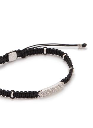 Detail View - Click To Enlarge - TATEOSSIAN - 'Baton' diamond rhodium silver macramé bracelet