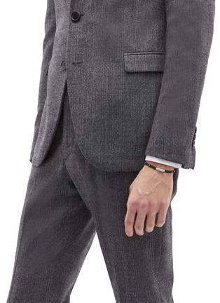 Figure View - Click To Enlarge - TATEOSSIAN - 'Baton' diamond rhodium silver macramé bracelet