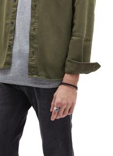 Tateossian 'Montecarlo' double wrap silver leather bracelet