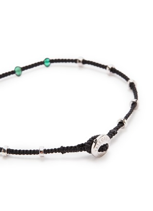 Detail View - Click To Enlarge - TATEOSSIAN - 'Lusso' emerald bead silver macramé bracelet