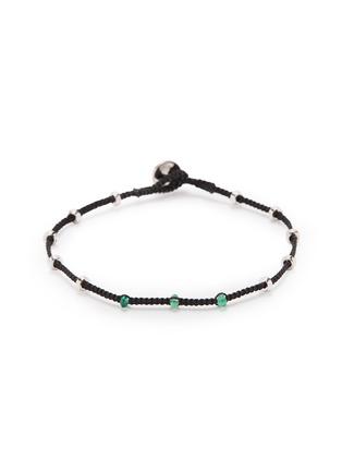 Main View - Click To Enlarge - TATEOSSIAN - 'Lusso' emerald bead silver macramé bracelet