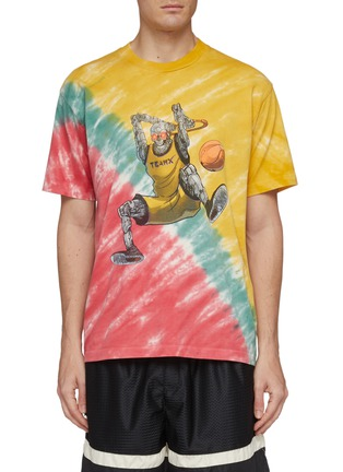 Main View - Click To Enlarge - JUST DON - 'Dunking Robot' graphic print tie-dye effect T-shirt