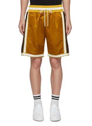 Main View - Click To Enlarge - Just Don - Leopard print outseam stripe border basketball shorts